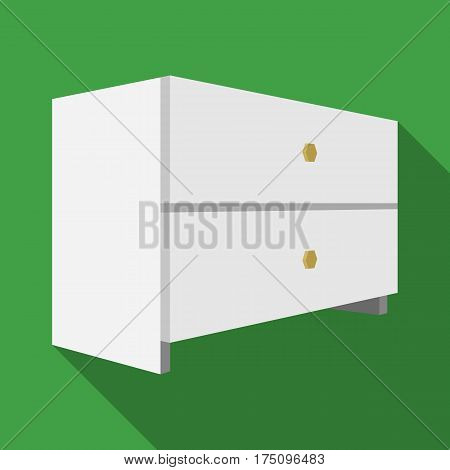 White bedside table with two drawers.Room accessories for all sorts of things.Bedroom furniture single icon in flat style vector symbol stock web illustration.