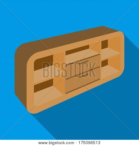 Wooden Cabinet with lockers and cupboards.TV stand.Bedroom furniture single icon in flat style vector symbol stock web illustration.