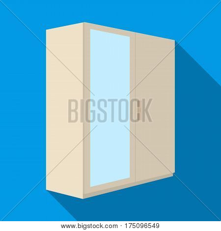 A small wardrobe with a clean mirror.Bedroom furniture single icon in flat style vector symbol stock web illustration.
