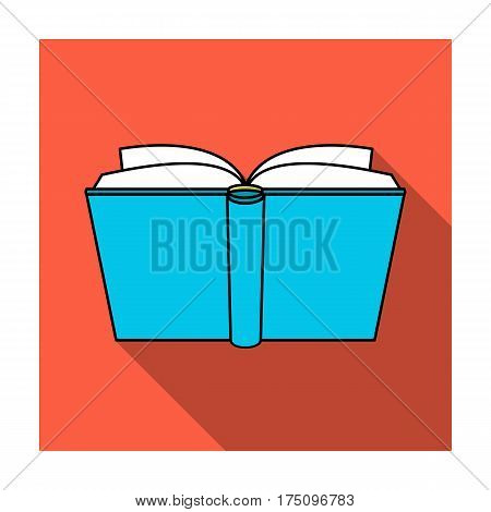 Blue opened book icon in flat design isolated on white background. Books symbol stock vector illustration.