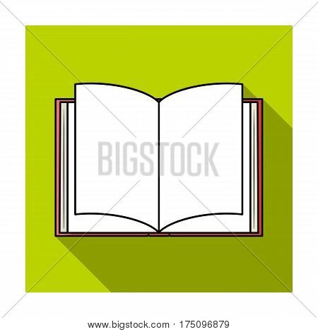 Opened book icon in flat design isolated on white background. Books symbol stock vector illustration.