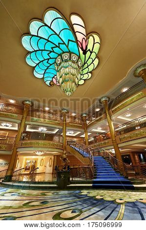 Main Entrance Hall In Disney Cruise Ship