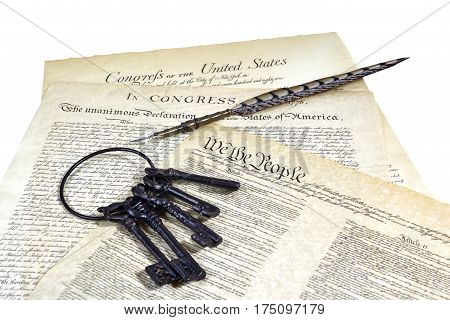 Us Constitution Historical Documents, Ring Of Keys, Quill Pen