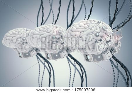 3d rendering three robot brain with wires