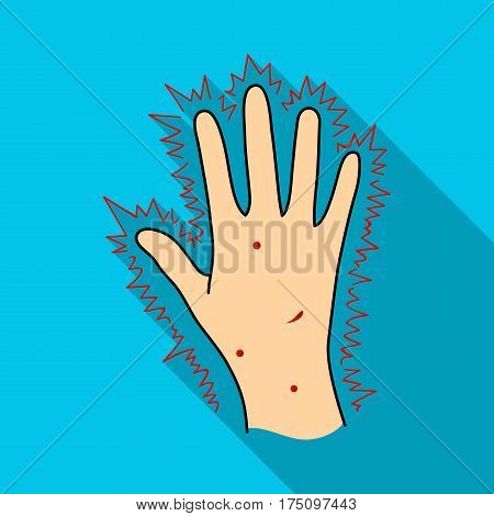The arm of the patient with diabetes.Hand with eczema from diabetes.Diabetes single icon in flat style vector symbol stock web illustration.