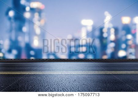 3d rendering roadside with cityscape background at night