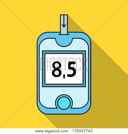 A device for measuring the level of blood sugar.Equipping the patient with diabetes.Diabetes single icon in flat style vector symbol stock web illustration.