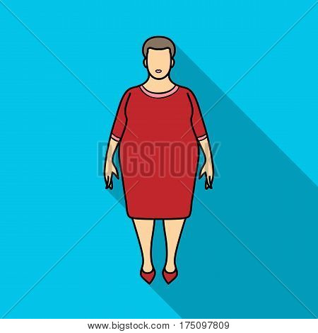 Fat woman in a red dress.A fat woman because of diabetes.Diabetes single icon in flat style vector symbol stock web illustration.