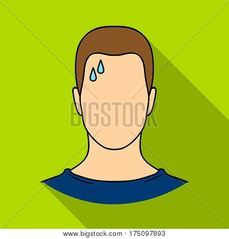 A sweaty man.The man is sweating from diabetes.Diabetes single icon in flat style vector symbol stock web illustration.