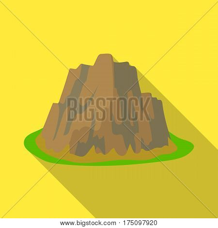 High steep mountain with grass the dark colors with sharp spikes.Different mountains single icon in flat style vector symbol stock web illustration.