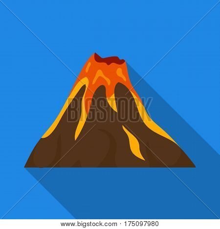 A fiery volcano.A mountain in which there is a volcanic eruption.Different mountains single icon in flat style vector symbol stock web illustration.