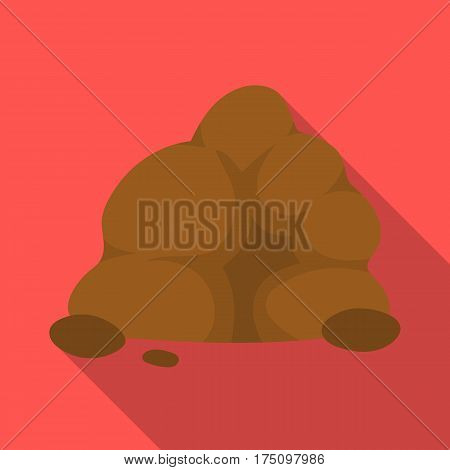 The small gray slide.A mountain that consists of a large number of small stones.Different mountains single icon in flat style vector symbol stock web illustration.
