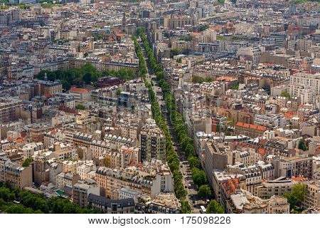 Buildings, streets and boulevards as seen from above in Paris, France.