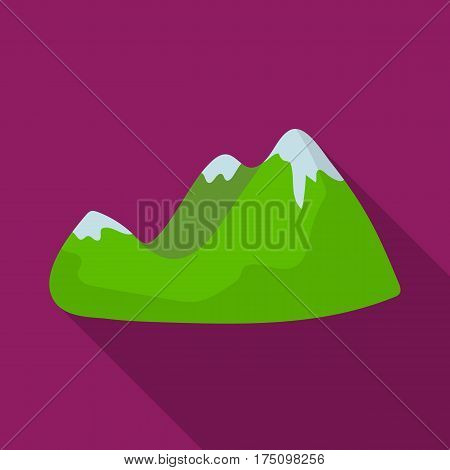Green mountains.Mountain range covered with dense forest.Different mountains single icon in flat style vector symbol stock web illustration.