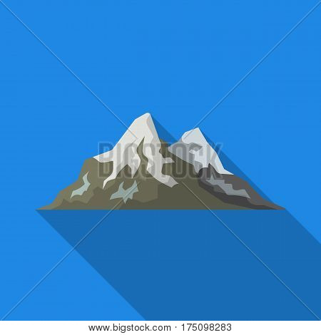 Sharp mountains, on the tops of which the snow melts.Different mountains single icon in flat style vector symbol stock web illustration.