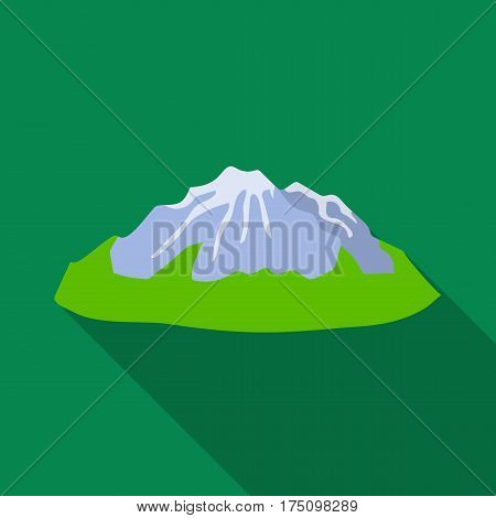Green mountains.Mountain with snow.Different mountains single icon in flat style vector symbol stock web illustration.