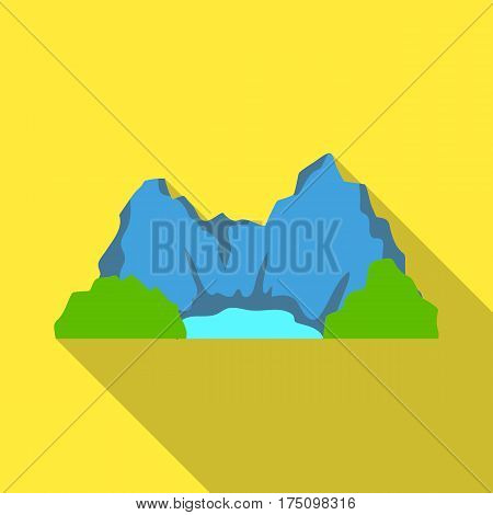 Blue mountain, under which flows the river.Different mountains single icon in flat style vector symbol stock web illustration.
