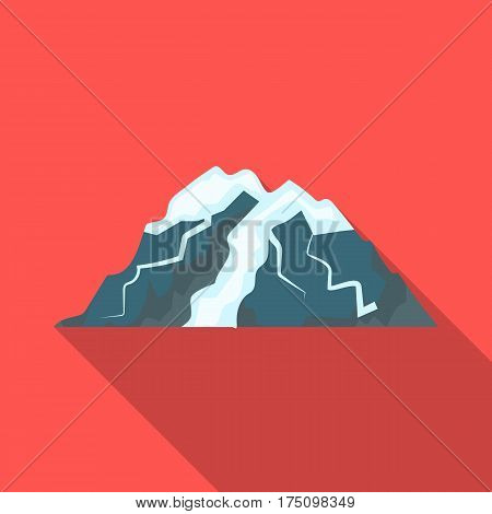 Ice mountain all the cracks.The mountain from which icebergs.Different mountains single icon in flat style vector symbol stock web illustration.