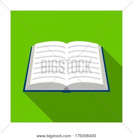 Book icon in flat design isolated on white background. Library and bookstore symbol stock vector illustration.