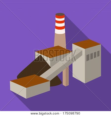 The plant with the pipe.Factory on processing of minerals from the mine.Mine Industry single icon in flat style vector symbol stock web illustration.