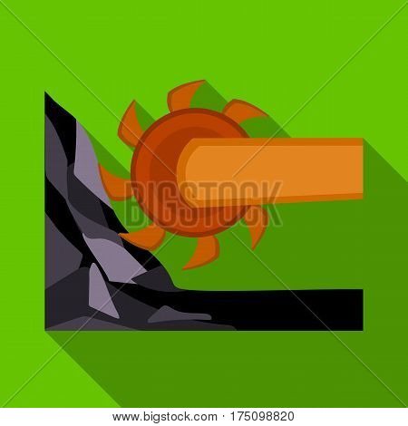 Large cutting wheel. Machine for extraction of minerals.Mine Industry single icon in flat style vector symbol stock web illustration.