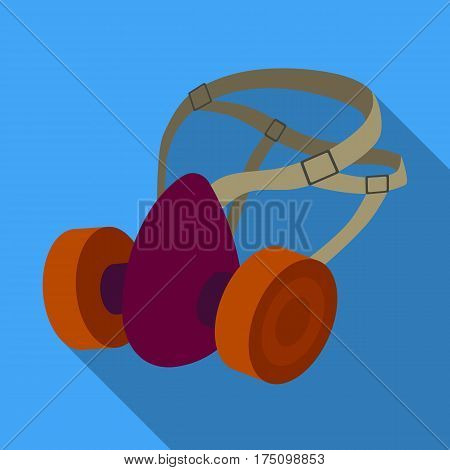 Respirator for miners. Protection from dust . Equipment of miners.Mine Industry single icon in flat style vector symbol stock web illustration.