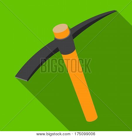 A wooden pickaxe with an iron tip.The tool that miners manually extract the minerals in the mine.Mine Industry single icon in flat style vector symbol stock web illustration.