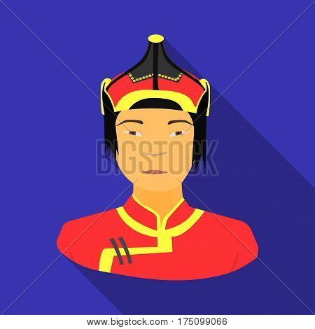 The Mongols in the helmet.Mongolian national protection.Mongolia single icon in flat style vector symbol stock web illustration.