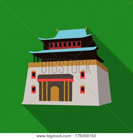 The three-storey building in Mongolia.Mongolian national Shrine of Mitarai.Mongolia single icon in flat style vector symbol stock web illustration.