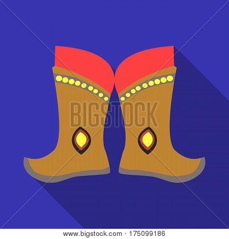 Military boots of the Mongols.part of the national dress of Mongolia.Mongolia single icon in flat style vector symbol stock web illustration.