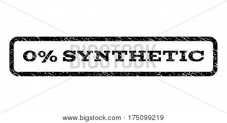 0 Percent Synthetic watermark stamp. Text caption inside rounded rectangle with grunge design style. Rubber seal stamp with scratched texture. Vector black ink imprint on a white background.
