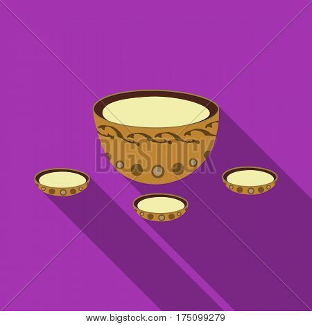 A plate with three cups and Mongolian ornaments.The national dish of the Mongols.Mongolia single icon in flat style vector symbol stock web illustration.