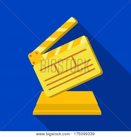Gold clapperboard on stand.Award for best Director.Movie awards single icon in flat style vector symbol stock web illustration.
