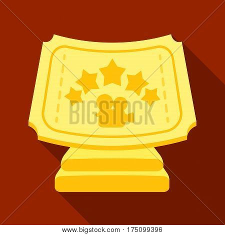 Silver prize with star, and camera on a stand.Movie awards single icon in flat style vector symbol stock web illustration.