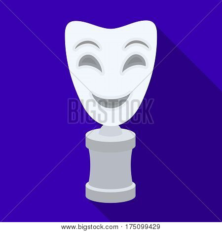 White mask MIME on the stand.The prize for best drama.Movie awards single icon in flat style vector symbol stock web illustration.