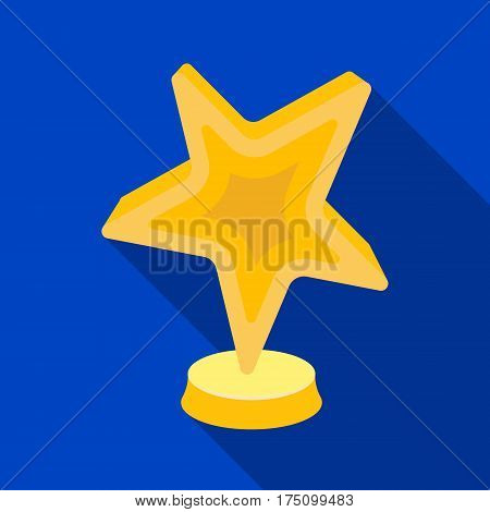 Gold award in the shape of a star.The prize for best role in an action film.Movie awards single icon in flat style vector symbol stock web illustration.