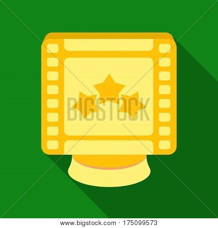 Award in the form of a video tape for best actor.Movie awards single icon in flat style vector symbol stock web illustration.