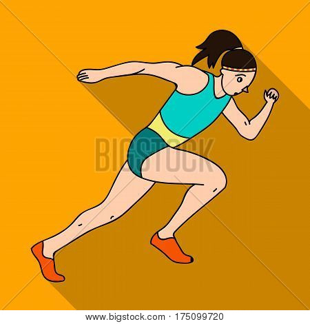 The girl is engaged in athletics.The Olympics in athletics.Olympic sports single icon in flat style vector symbol stock web illustration.