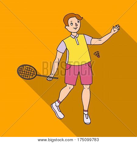 Young people involved in badminton. The game of badminton with a partner.Olympic sports single icon in flat style vector symbol stock webillustration.