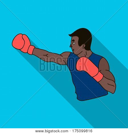 Brown boxer in Boxing gloves.The Olympic sport of Boxing.Olympic sports single icon in flat style vector symbol stock web illustration.