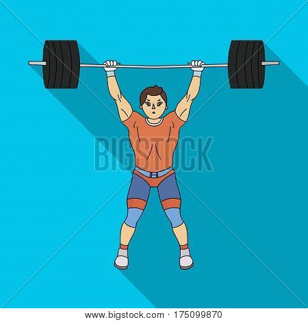 Strong weightlifter raises the bar in the gym.The athlete lifts a huge weight.Olympic sports single icon in flat style vector symbol stock web illustration.