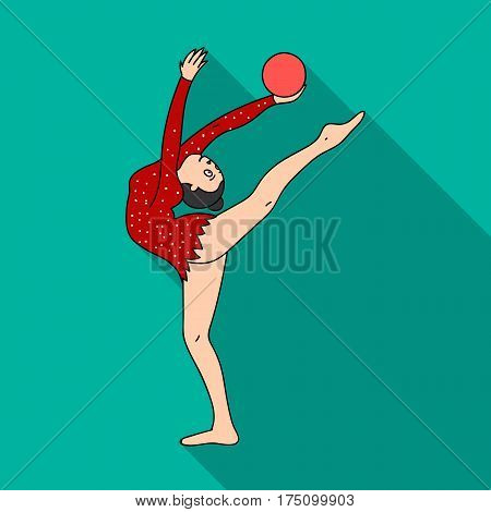 Skinny girl with ball in hand dancing sports dance. The girl is engaged in gymnastics.Olympic sports single icon in flat style vector symbol stock web illustration.