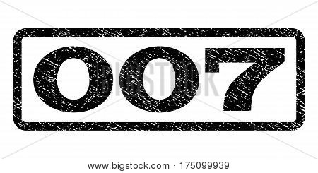 007 watermark stamp. Text tag inside rounded rectangle with grunge design style. Rubber seal stamp with dirty texture. Vector black ink imprint on a white background.