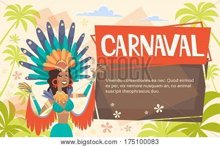 Brazil Carnival Latin Woman Wear Bright Costume Traditional Rio Party Flat Vector Illustration