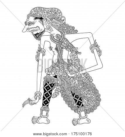 Antagopa, a character of traditional puppet show, wayang kulit from java indonesia.