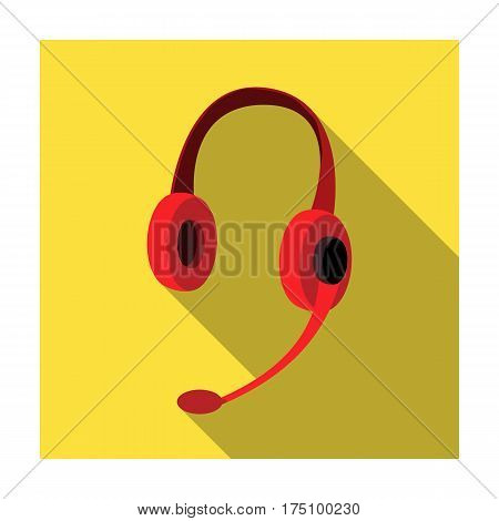 Headphones icon in flat design isolated on white background. Personal computer accessories symbol stock vector illustration.