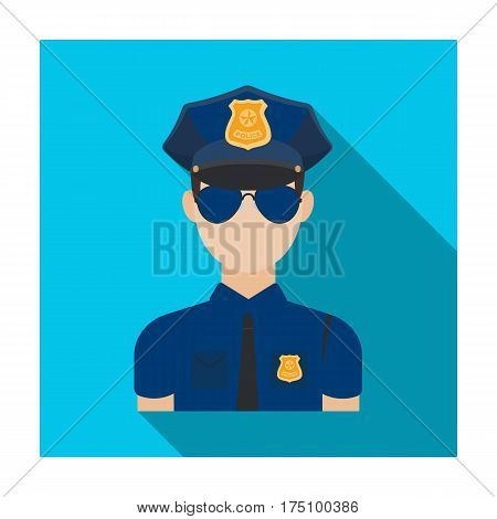 Police officer icon in flat design isolated on white background. Police symbol stock vector illustration.