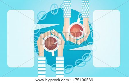 Hands Couple Hold Cup Tea Coffee Break Morning Beverage Banner Flat Vector Illustration