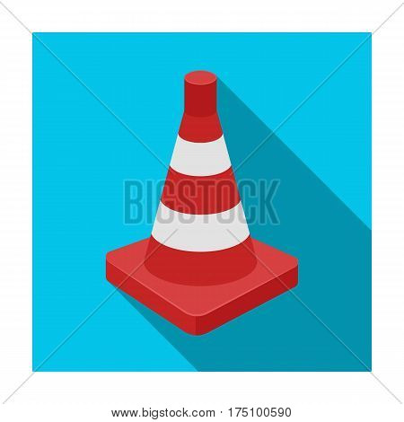 Traffic cone icon in flat design isolated on white background. Police symbol stock vector illustration.