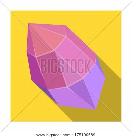 Rough gemstone icon in flat design isolated on white background. Precious minerals and jeweler symbol stock vector illustration.